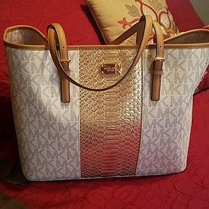 Vanilla tote with gold  snake embosed 1 day sale